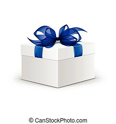 Vector White Square Gift Box with Blue Ribbon and Bow Isolated on Background