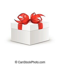 Vector White Square Gift Box with Red Ribbon and Bow Isolated on Background