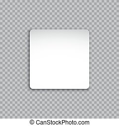 Vector white square sticker isolated on transparent background.