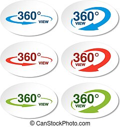 Vector white stickers for virtual tour, oval labels with...