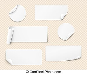 Vector white stickers - White paper stickers of various ...