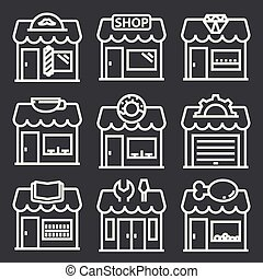 Vector white store icons