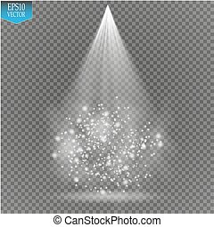 Vector white transparent energy spotlight scene with lightning and fog or smoke background. Abstract light effect power modern design