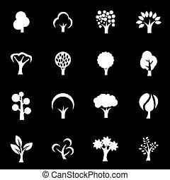 Vector white trees icon set