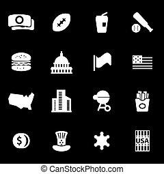 Vector white usa icons set