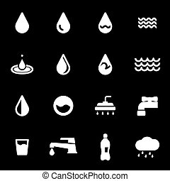 Vector white water icons set