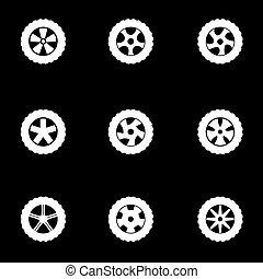 Vector white wheel icon set