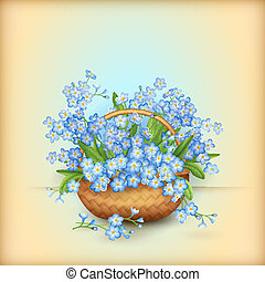 Vector wicker basket with forget-me-nots flowers. Vintage floral greeting card