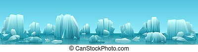 Vector wide web banner illustration of arctic landscape with icebergs and mountains. Winter panorama background.