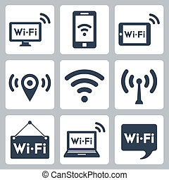 Vector wifi icons set: pc, smartphone, tablet pc, pointer, hotspot, signboard, laptop, speech bubble