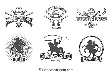 Vector Wild West and Rodeo labels. Cowboy texas, stamp and...