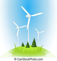 Vector wind power station. Wind turbine against the blue sky
