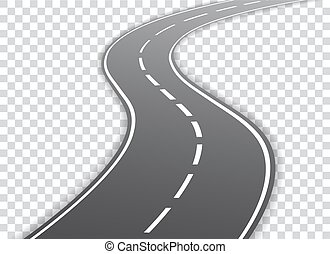 Vector winding road isolated on transparent background....