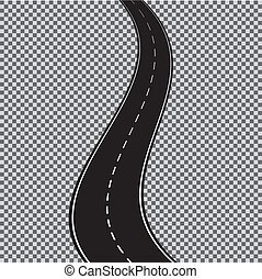Vector winding road isolated on transparent background. Vector EPS 10.