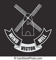 Vector windmill on white background with a banner