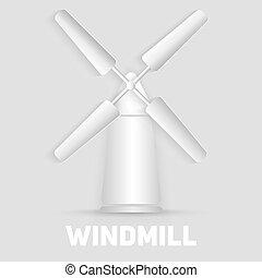 Vector windmill symbol. Organic natural food sign.