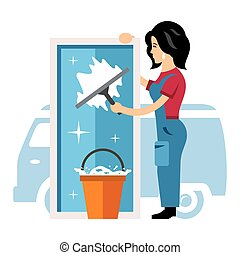 Vector Window cleaning service. Flat style colorful Cartoon...