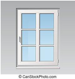 vector window - modern detailed white vector window...