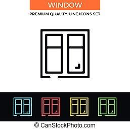 Vector window icon. Thin line icon