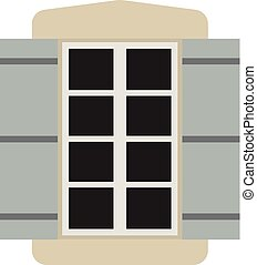 Vector window with shutters.