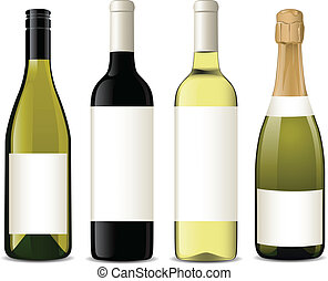 Vector wine bottles - Vector illustration of different wine ...