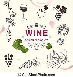 Vector Wine Design Elements