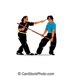 Vector Wing Chun kung fu sparring Cartoon Illustration. -...