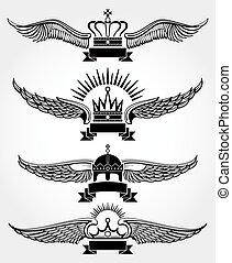 Vector winged crowns and ribbons royal logo templates set