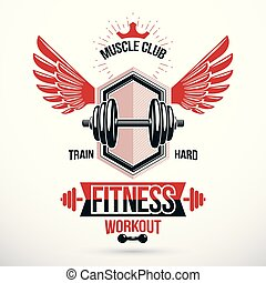 Vector winged graphic symbol created with disc weight dumb-bell and royal crown. Sport team conceptual emblem
