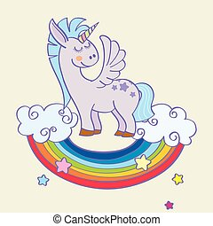 Vector winged unicorn standing on a rainbow with clouds
