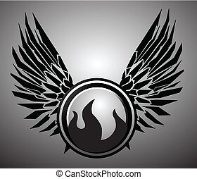 vector wings fire and icon
