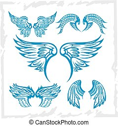 Vector Wings Set. Vinyl-ready illustration. - Vector set of ...
