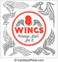 Vector Wings Set. Vinyl-ready illustration. - Vector set of...