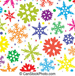 vector winter background with colorful snowflakes