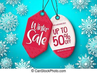 vector, winter, banner., tekst, markeringen, verkoop, korting, label, achtergrond., hangend, witte , snowflakes