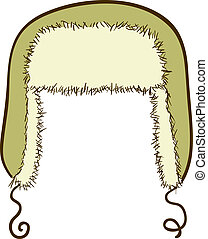Vector winter cap with ear-flaps - Hand-drawn illustration ...