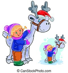 Vector winter Christmas, New Year illustration of little girl hugging deer Santa Claus.