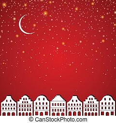 Vector Winter City at Night