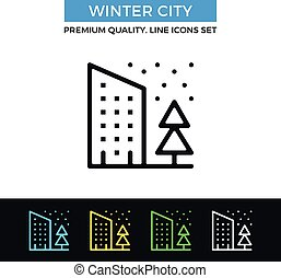 Vector winter city icon. House, pine, falling snow concept. Thin line icon