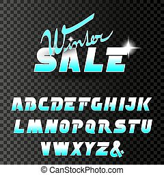 Vector winter font, alphabet. Winter sale, special offer...