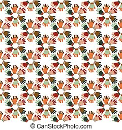 Vector winter gloves and snowflakes seamless pattern background.