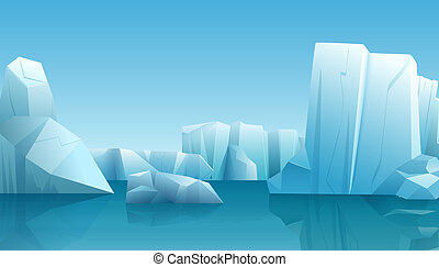 Vector Winter illustration of nature winter arctic landscape with ice iceberg, blue pure water and snow hills.