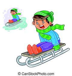 Vector winter illustration of small boy sledding