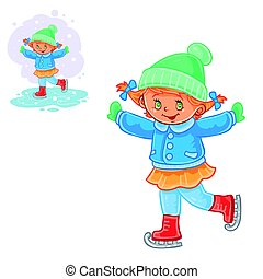 Vector winter illustration of small girl ice skating