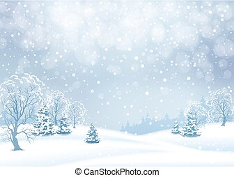 Vector winter snowy landscape. Christmas background with snowfall