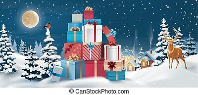Vector winter landscape with gifts in the foreground.