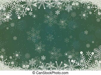Vector winter pine green gradient Christmas background snowflake and snow border
