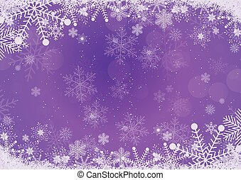 Vector winter purple gradient Christmas background snowflake and snow border