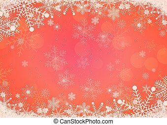 Vector winter red gradient Christmas background snowflake and snow border