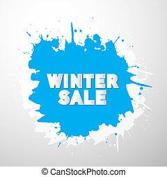Vector Winter Sale Title on Blue Splash, Blot